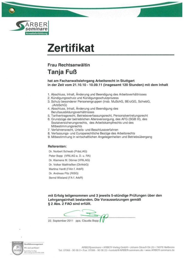 Tanja Fuß Fachanwaltslehrgang Arbeitsrecht