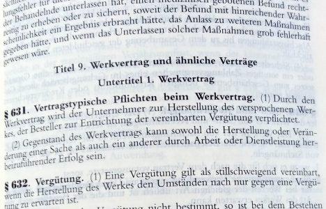 Vertragsrecht und Werkvertrag Gesetzestext